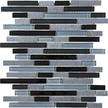 Black Timber Random Strip Mosaics 12x12