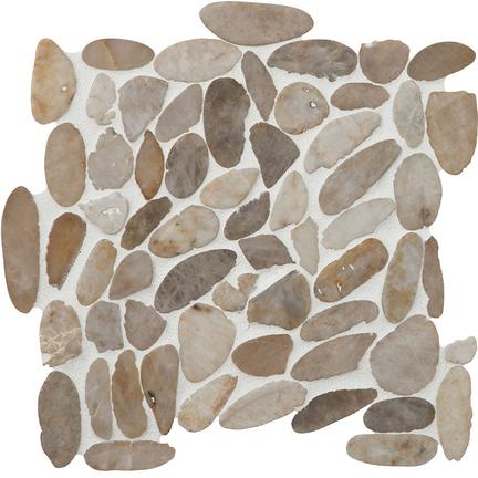 White Snowball Flat Flat Pebble Mosaics 12x12