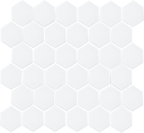 White 2X2 Hexagon Mosaics (Matte Finish) M2x2HEX