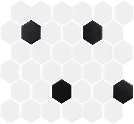 Black & White 2X2 Hexagon Mosaics (Matte Finish) M2x2HEX