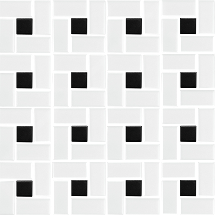 Black & White Pinwheel Mosaic (Matte Finish) M12PW