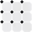 Black & White 4X4 Octagon Mosaics (Matte Finish) M4x4OCT