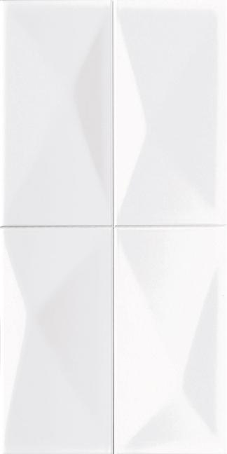 White Diamond Wall Tile (Pressed) 9x18