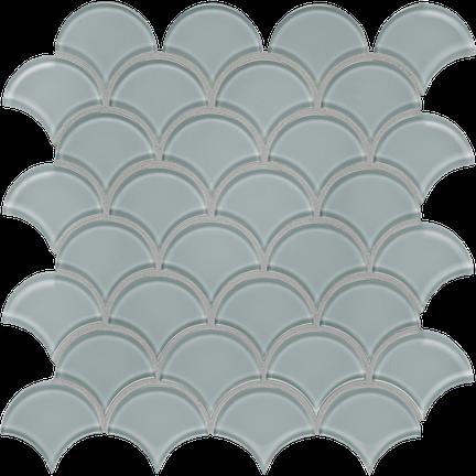 Quiet Gray Scallop Mosaics M12SCP